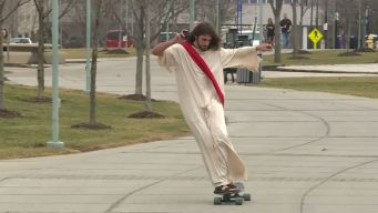 Skateboarding Jesus Turns Heads