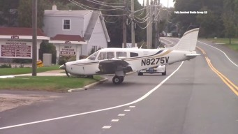 Small Plane Rolls Off Runway and Onto Road on Long Island