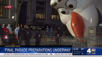 Preparations for the Macy's Thanksgiving Day Parade