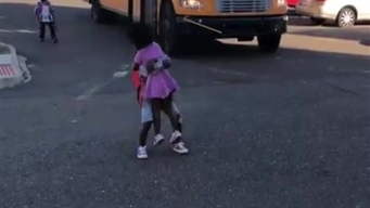 Adorable Moment Boy Runs Off School Bus to Hug Excited Sis