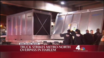 Truck Crashes Into Metro-North Overpass in NYC