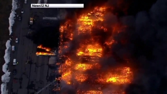 NJ Warehouse Fire Rages Amid Freezing Temps, High Winds