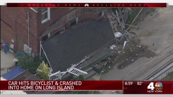 Driver Slams Into 2 Cyclists, Killing 1, Then Crashes into Home on Long Island, Police Say