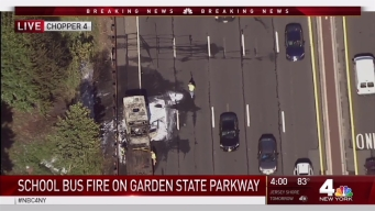 School Bus Bursts into Flames on Garden State Parkway