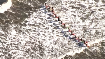 Rescuers Search for Missing Swimmer at Long Beach
