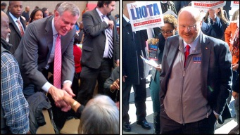 De Blasio and Lhota Dash for Votes on Eve of Election