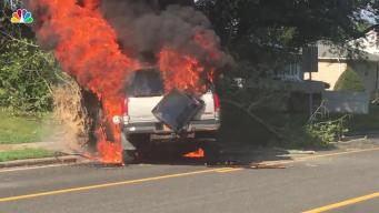 Car Goes Up in Flames, Passengers Rescued
