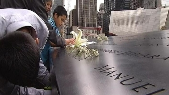 Families Make Rubbings of 9/11 Names