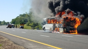 Bus Bursts into Flames on GSP, No Injuries Reported