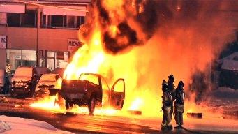 Oil Tanker Flips on Long Island, Igniting Massive Fire