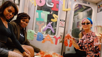 Woman Walks Into Surprise Birthday Party on Subway Train