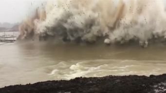 Cameras Capture Dam Detonation in China