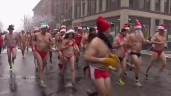 Speedo-Clad Santas Run Through Boston