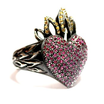 Flaming Heart Ring