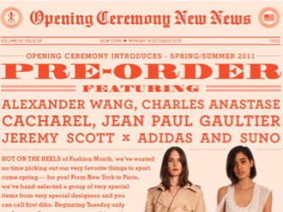 Next Week: Opening Ceremony's Spring 2011 Pre-Order Opportunity
