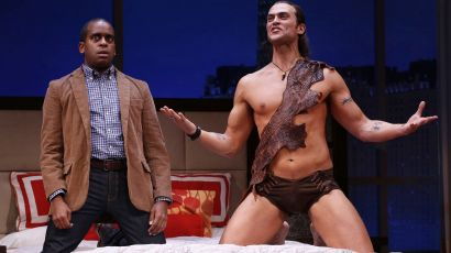 "Daniel Breaker and Cheyenne Jackson in ""The Performers"" at the Longacre Theatre"