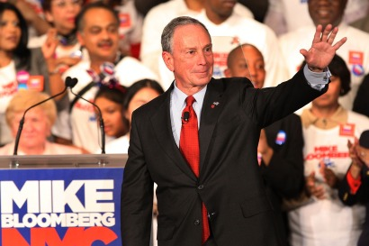 Mayor  Michael Bloomberg celebrates on stage after a narrow win over  Democratic challenger William Thompson last November.