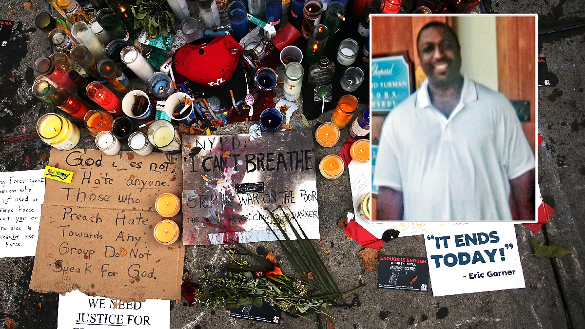 A memorial is viewed for Eric Garner (inset) near where he died after he was taken into police custody in Staten Island.