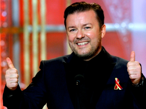 Ricky Gervais Makes No Promise to Behave at Last Golden Globes