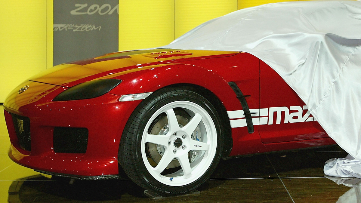 A Mazda RX-8 turbo concept car is unveiled at an Australian auto show on October 7, 2004.