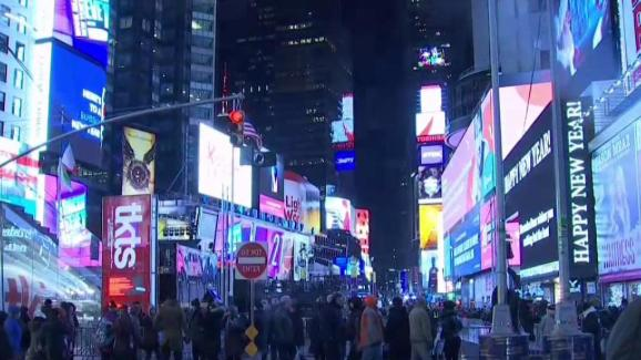 times square preps for new years eve celebration