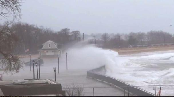 Intense Gusts Sends Surf Over Sea Walls on Long Island