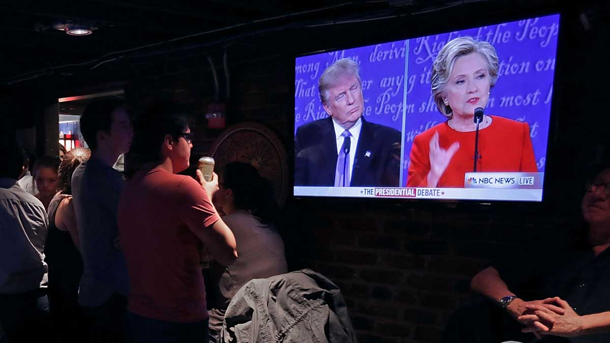 The Capitol Lounge two blocks from the U.S. Capitol was full for the first presidential debate between Donald Trump and Hillary Clinton on September 26, 2016, in Washington, D.C.