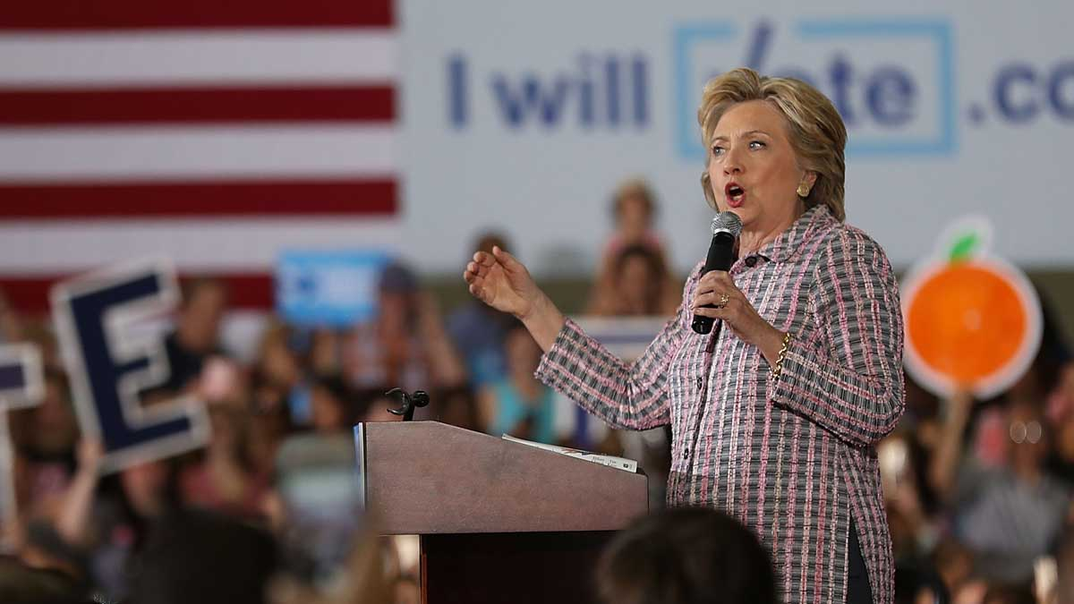 Democratic presidential candidate Hillary Clinton speaks during a campaign rally at the Sunrise Theatre on Friday, September 30, 2016, in Coral Springs, Florida.