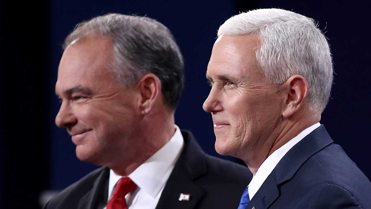 Vice presidential nominees Tim Kaine (left) and Mike Pence on stage at Longwood University on Tuesday, October 4, 2016, in Farmville, Virginia, when the pair debated for the only time in the 2016 presidential campaign.