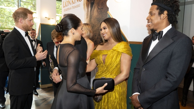 [NATL-USE THIS ONE] Royal Family Photos: Beyoncé Greets Meghan Markle at 'Lion King' Premiere, And More