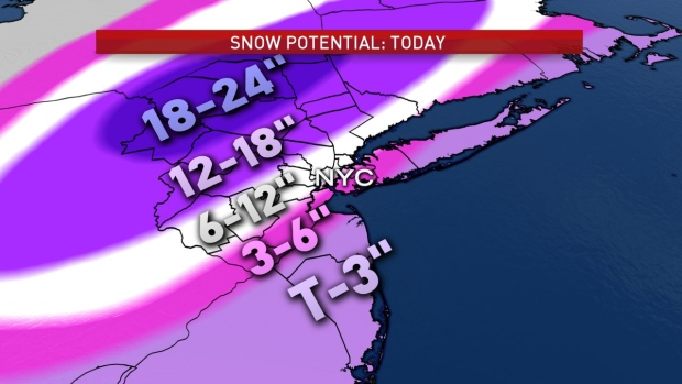 Local snow totals from Nor'easter could reach 2 feet