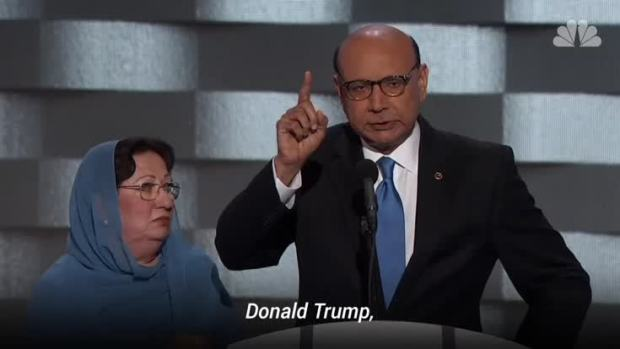 [NATL] Parents of Muslim Soldier Ask Trump: 'Have You Even Read the U.S. Constitution?'