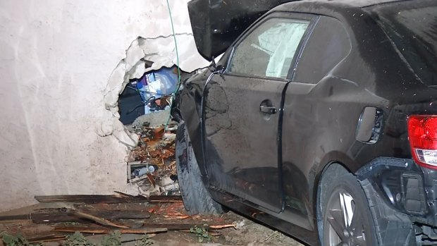 Car Crashes Near Baby's Crib: Images