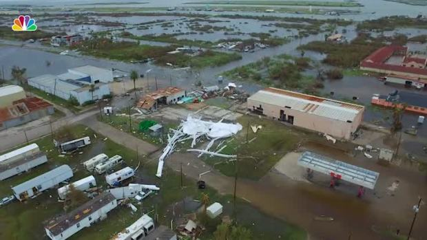 Drone Footage Captures Damage in Aransas Pass, Texas