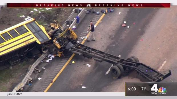 [NY] Devastating School Bus Crash Scene on NJ Highway