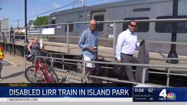 Disabled LIRR Train in Island Park