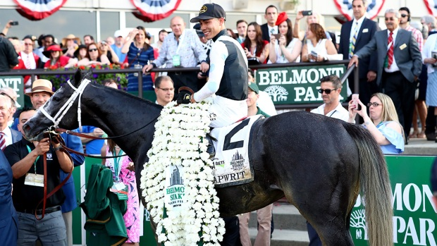 Tapwrit Overtakes Race Favorite Irish War Cry at 2017 Belmont Stakes
