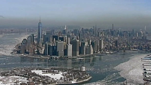 [NY] WATCH: Chopper 4 Catches Ice on the Hudson