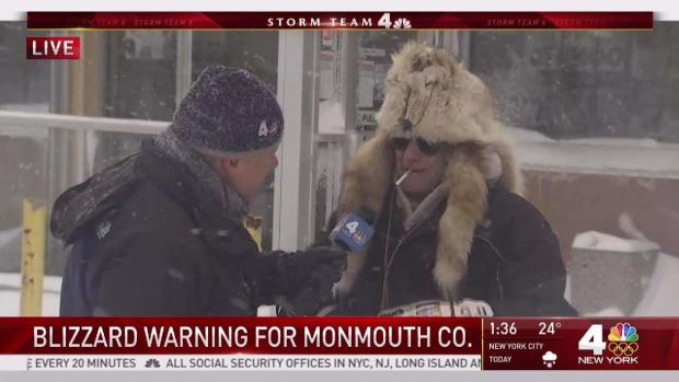 Jersey Man in Fur Hat Desperate for Coffee in Snowstorm