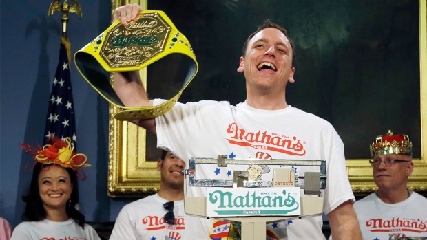 [NY] Joey Chestnut Wins Nathan's Hot Dog Eating Contest Again, Proposes to Girlfriend