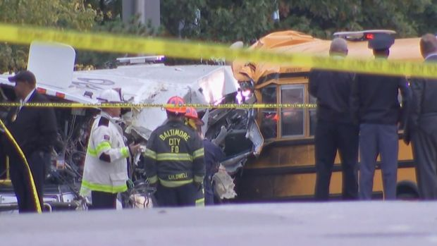 Six Dead After School Bus, Commuter Bus Collide in Baltimore
