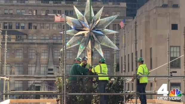 A Star Is Placed on the Rockefeller Center Christmas Tree