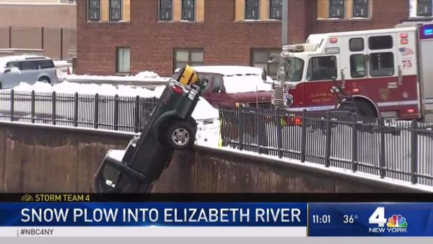 [NY] Close Call: Snow Plow Almost Falls Into New Jersey River