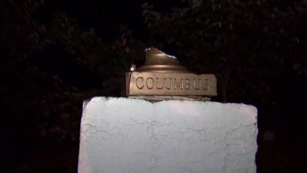 Statue of Christopher Columbus in Central Park vandalized