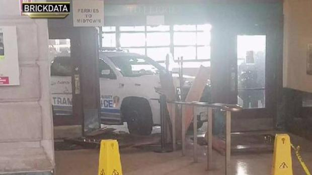 [NY] Stolen Police Car Crashes Into Hoboken Terminal