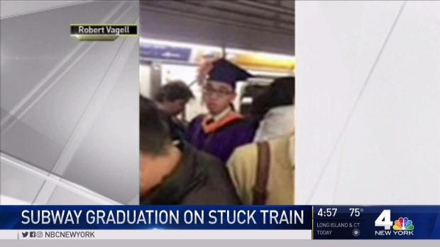 Student Gets Mock Graduation on Stalled Subway Car