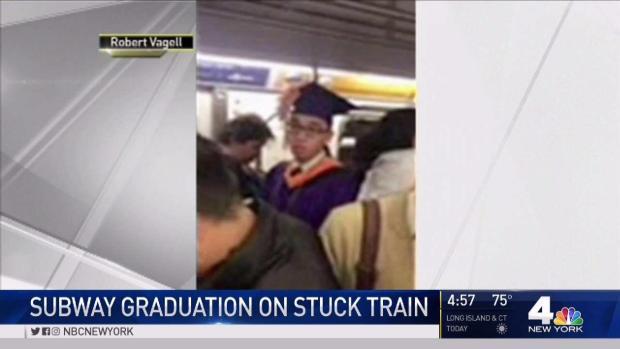 Student Gets Mock Graduation on Stalled Subway Car