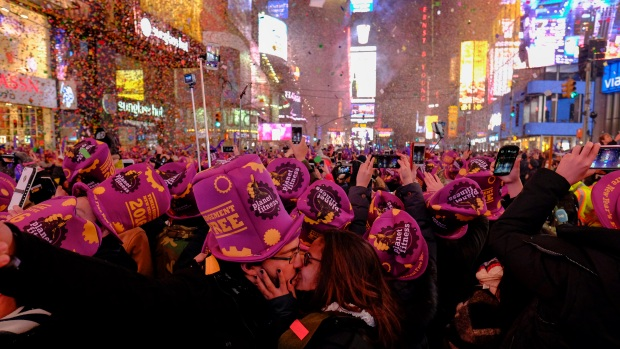 Revelers Ring in 2016 in Times Square