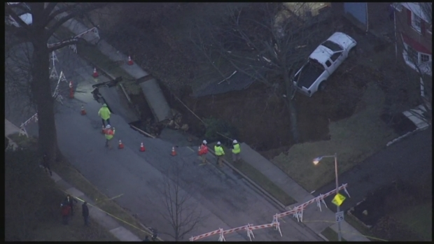 RAW: Sinkhole Swallows Up Montgomery County Yards, Street