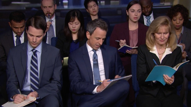 [NATL] 'Late Night': White House 'Press Conference' With Trump
